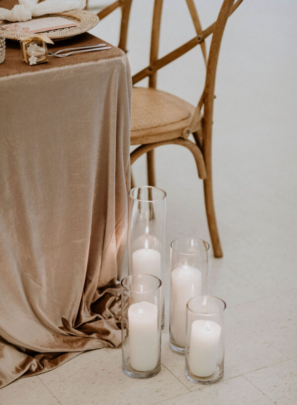 Neutral Wedding Tablescape with candles
