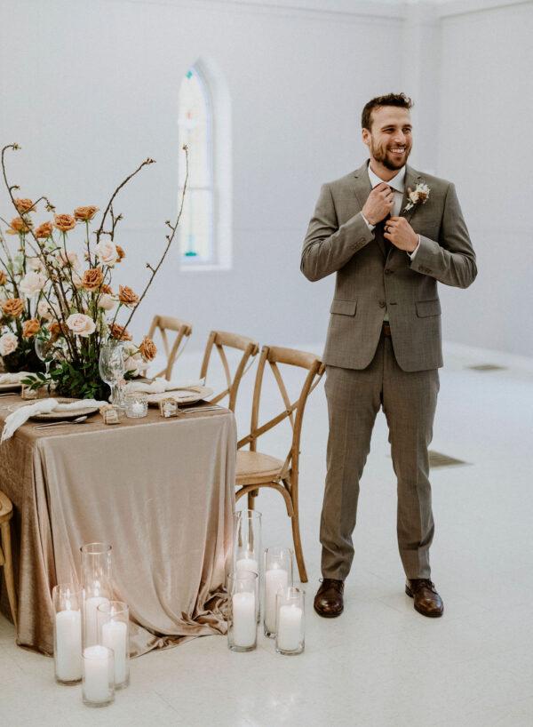 Neutral Wedding Groom in Suit