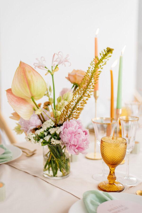 Wedding flowers in peach