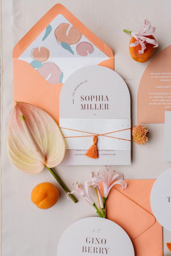peach themed wedding invitations