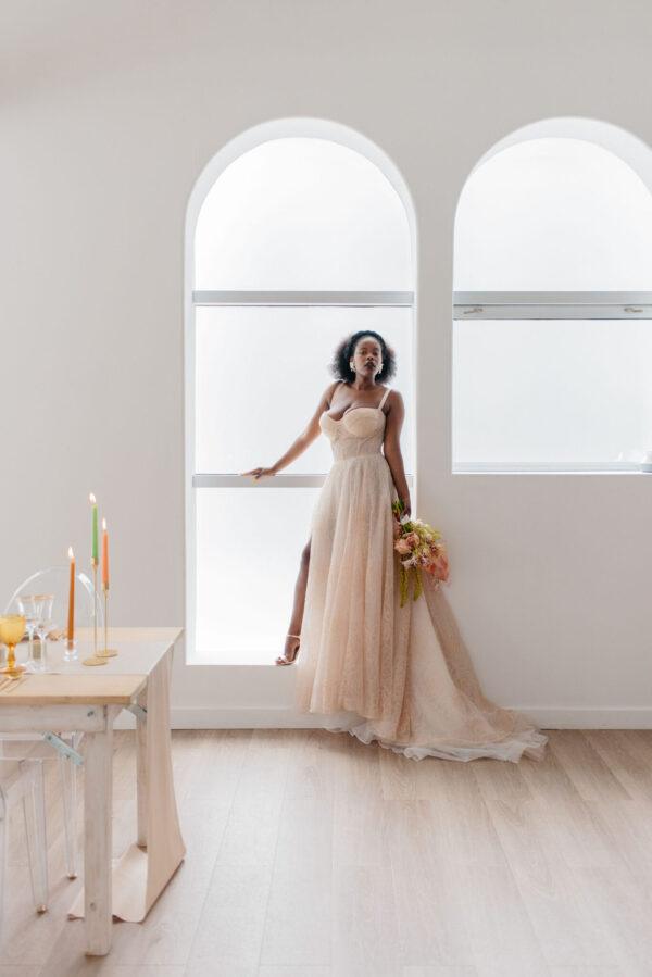 peach wedding dress inspiration